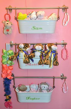 Use for baby's seperate toiletries. Project Nursery - Hanging Personalized Tin Baskets - Project Nursery