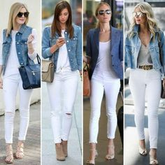 How to Always Look Stylish - Outfit inspiration - Winter Mode Blue Jean Outfits, Jean Jacket Outfits, Outfit Jeans, Outfit With White Pants, White Pants Outfit Spring Work, Casual White Jeans Outfit Summer, White Sneakers Outfit Spring, How To Wear White Jeans, Jeans Outfit For Work