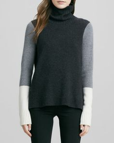 Vince Double-Face Melton Coat, Tricolor Sweater & Fitted Slim Twill Pants - Neiman Marcus