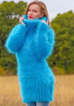SUPERTANYA Aqua Blue Hand Knitted Sweater Fuzzy Turtleneck Fluffy Mohair Dress #SuperTanya #TurtleneckMock