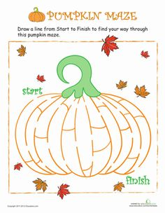 Thanksgiving Halloween Preschool Mazes Worksheets: Pumpkin Maze
