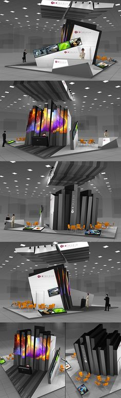 A stand-out booth with extraordinary architectural elements.: