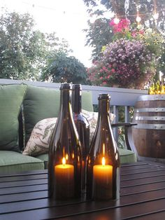 Glass Wine Bottle Candles Set of 3 by csites on Etsy, $40.00