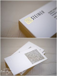Letterpress business cards one color letterpress with blind deboss custom letterpress business cars with gold foil and edge paint with scannable qr code reheart Image collections