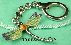 COLLECTOR'S PIECE: Authentic TIFFANY Dragonfly Keychain .925 Sterling Silver Enameled Vintage Style