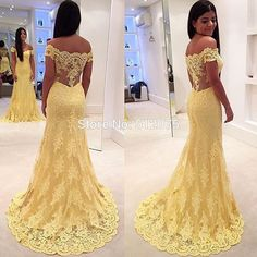 Yellow Lace Off The Shoulder 2016 Evening Dresses Formal Vestido De Festa Longo Mermaid Evening Dress Robe De Soiree z120303-in Evening Dresses from Weddings & Events on Aliexpress.com | Alibaba Group