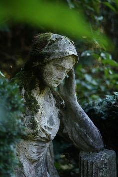 Gypsy Purple home. Your emotions are the slaves to your t Statue Ange, Gothic Garden, Midnight Garden, Purple Home, Cemetery Art, Angel Statues, Garden Statues, Outdoor Statues, Garden Ornaments