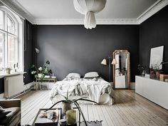 A Dramatic Swedish Space With Black Walls Dark Gray Pin On Interiores 35 Black Room Decorating Ideas How To Use Black Wall Paint Black Bedroom Interior Designs Home Interior, Interior Design, Apartment Interior, Ikea Interior, Studio Interior, Modern Interior, Interior Styling, Studio Apartment Decorating, Apartment Therapy