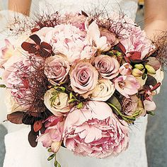 Dusty Pink Peony and Rose Bouquet