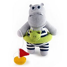 Animal Amigurumi Patterns hippo - Swimming Hippo Amigurumi - don't you love his Victorian swimsuit and frog floaty!