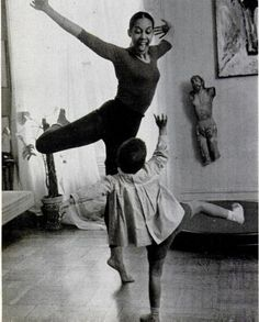 Carmen De Lavallade and 3 year old son, Leo, dancing; Photo via Ebony Magazine, July 1960