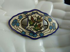Beautiful Art Nouveau Sash Pin Sterling and Cloisonne. Husband got me this for Christmas! Use to pin a sash/belt!