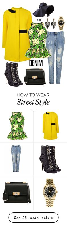"""African on Denim street style"" by precious-smith-1 on Polyvore featuring mode, Kenzo, Ally Fashion, FAIR+true, J.W. Anderson, Balmain, Balenciaga, Lulu Frost, Rolex et women's clothing"