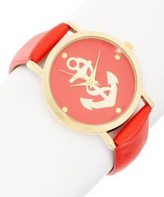 Loving this Coral & Gold Anchor Watch on #zulily! #zulilyfinds