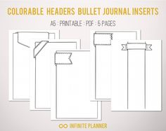 Cute Page Template 5 pages Bullet Journal Printable