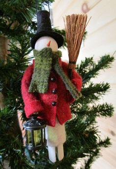 Dressed Warm Snowman Christmas Ornament by ModerationCorner