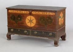 Lehigh County, Pennsylvania painted dower chest, inscribed Salome Gaumerin 1809, having two hearts on the lid which repeat on the front panel, centering a six pointed star over two stippled drawers, end panels with three color philphlots, all resting on ogee bracket feet, 30 1/4 h., 47 3/4 w., 22 1/4 d.