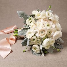 Ivory and Blush Ranunculus Bouquet  -  Wedding Bouquet by Theme: Beach |