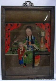 Antique Chinese Export Reverse Glass Matriarch Mother Child Painting