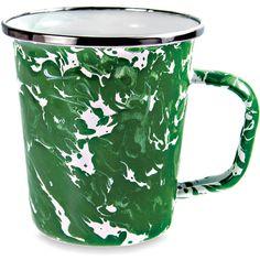 Thos. Baker Latte Mug (Green) ($14) ❤ liked on Polyvore featuring home, kitchen & dining, drinkware, green mug, latte mug, outdoor drinkware, german mug and polish mug