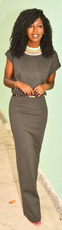 #Gray T-#shirt #Maxi #Dress by Style Pantry