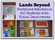 Here's an adaptation of Candyland for children who are blind or visually impaired. Be Creative! *Repinned by WonderBaby.org