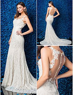 Trumpet/Mermaid Jewel Lace Chapel Train Wedding Dress (17989... – USD $ 189.99