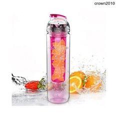800ml Tritan Bottle Fruit Water Drink Infuser Pink BPA Free Flip Healthy Sport