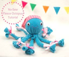 No-Sew Fleece Octopus Tutorial - This is an easy craft to make with kids. Just braiding, no sewing!