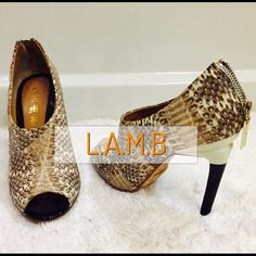 """⚡️Gorgeous """"LAMB"""" Snakeskin shoes⚡️ One of my fave heels!  Cream snakeskin, open toe, worn a few times in great condition. Includes box and dust bag. Super sexy on! L.A.M.B. Shoes"""