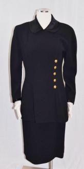 Chanel Black Gold Camelia Flower Buttons Satin Collar Skirt Suit