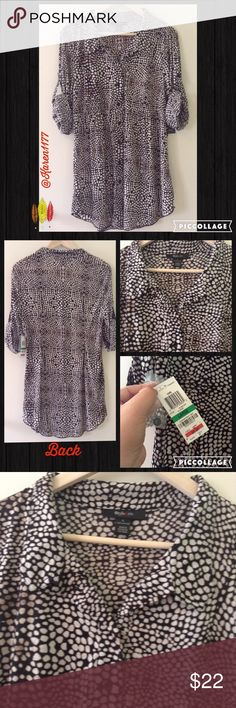Just In✨Style & Co Tab Sleeves Top/Tunic✨ Nwt Button up Top/tunic with tab sleeves. Nylon material. Super cute, great with jeans or leggings, work or to go out. Size large.‼️Best Prices when Bundled. ‼️Thanks Style & Co Tops Tunics