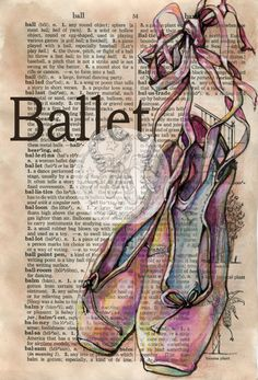 6 x 9 Print of Original, Mixed Media Drawing on Distressed, Dictionary Page    This drawing of ballet shoes is drawn in sepia ink and created with pastel and colored pencils on a distressed page from a dictionary that includes the definition ballet. Unlike similar prints available from other artists, this image was drawn directly on a page from a repurposed, rescued book. This is a digital print of the original artwork. The original artwork may or may not be available in another area of my…