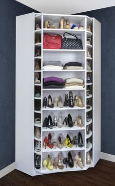 Corner shoe storage with shoe cabinet plus shelf and shoe rack could be an optio. - Corner shoe storage with shoe cabinet plus shelf and shoe rack could be an option if you have a lar - Closet Bedroom, Closet Space, Walk In Closet, Shoe Rack Bedroom, Corner Closet, Wardrobe Room, Master Closet, Shoe Storage Design, Rack Design