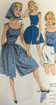 "Vintage Sewing The perfect playclothes for chasing down the haunted canoe that paddles itself across Lake Sevanee in ""The Invisible Intruder"" (Nancy Drew Retro Mode, Vintage Mode, Vintage Outfits, Vintage Dresses, 1960s Dresses, Sewing Patterns Free, Clothing Patterns, 60s Patterns, Skirt Patterns"