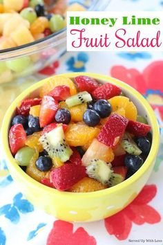 Light and refreshing Honey Lime Fruit Salad recipe is light sunshine and joy all mixed up into a bowl. This salad is a crowd pleaser! So light and refreshing! This Honey Lime Fruit Salad is a crowd pleaser. Dessert Salads, Fruit Salad Recipes, Dessert Recipes, Fruit Salads, Spinach Salads, Jello Salads, Arugula Salad, Milk Recipes, Egg Recipes