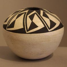 Pueblo:  Acoma  Artist:  Sarah Garcia   Date Created:  Dimensions:  3 1/2 in H by 4 1/4 in Dia   Item Number:  roacd2305  Price:  $ 375 Description:  Black and white geometric design