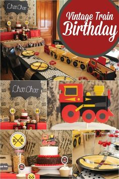 This vintage train-themed birthday party is too cool and perfect for your transportation-crazed kid!