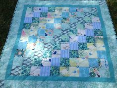 Turquoise baby bassinet quilt