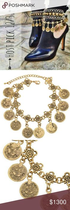 """Jewelry   Boho coin anklet AND bracelet gold Boho gold coin bracelet and anklet- all in one! You can wear this as an anklet one day and a bracelet the next- or get 2 and wear both ways at once! Measures 7.5"""" to the shortest setting and 9.5"""" to the last // brand new in plastic // never worn // listing is for 1 coin piece shown in every pic but will discount 2! Boho lover favorite! I also have a thicker gold piece also available, just ask me to tag you in that listing.  Also available in…"""