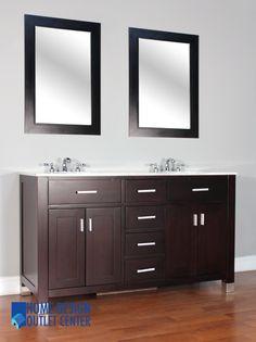 "FW-8016-60-CW 60"" Espresso Single Bathroom Vanity   White Marble - Home Design Outlet Center"