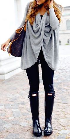#fall #fashion / leather + gray