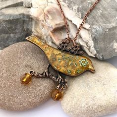 Mustard yellow necklace, Mosaic bird necklace, Mosaic jewellery, Christmas gift for her Yellow Necklace, Bird Necklace, Pendant Necklace, Christmas Gifts For Her, Gifts For Mum, Fall Jewelry, Copper Jewelry, Letterbox Gifts, Mosaic Birds