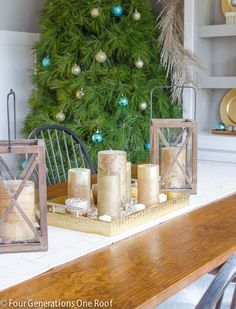 Gorgeous dining room decked out for the holidays.  Rustic touches and the most beautiful live white pine Christmas Tree.  by Four Generations One Roof