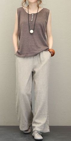 Vintage Thicken Linen Wide Leg Pants For Women - Women Clothes dre. - Vintage Thicken Linen Wide Leg Pants For Women – Women Clothes dress vintage dress aesthetic dress Linen Dresses, Casual Dresses, Casual Outfits, Casual Pants, Maxi Dresses, Linen Pants Outfit, Dress Clothes, Diy Clothes, Look Fashion