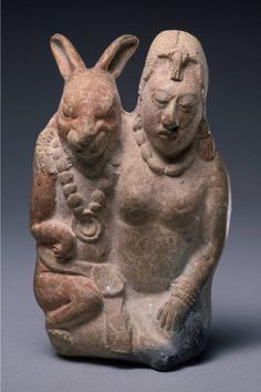 Maya whistle in the form of the moon goddess and her rabbit consort. CE 600–800. Princeton University Art Museum.