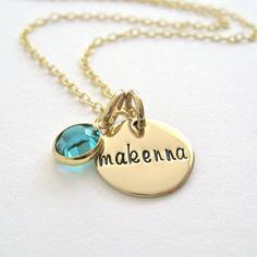 Gold Filled Personalized Necklace - Hand Stamped Jewelry for Moms on Etsy, $36.00