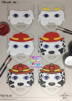 Paw Patrol Face Painting Step by Step by Jane Harding Face Painting Tutorials, Face Painting Designs, Paint Designs, Paw Patrol Face Paint, Dog Face Paints, Paw Patrol Marshall, Face Painting For Boys, How To Face Paint, Belly Painting