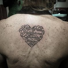 Tattoos of Hearts with Sisters Names on Back for Women.