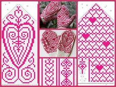 "Вязание. Варежки с жаккардом - ""Зимняя радуга"" Knitted Mittens Pattern, Fair Isle Knitting Patterns, Knitting Charts, Knit Mittens, Knitted Gloves, Free Knitting, Knitting Socks, Crochet Chart, Crochet Patterns"